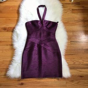 BCBGMaxAzria Purple Metallic Bandage Bodycon Dress